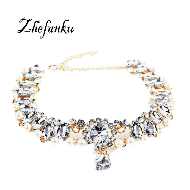 2017 New font b Fashion b font Boho Collar Choker Water Drop Crystal Necklaces Pendants For