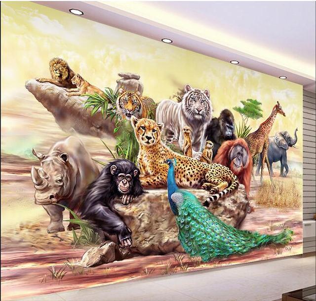 Fototapeten D Wandbild Vlies Die Zoo Tiere Dekoration Malerei D Wandbilder Wallpaper  Fr Wohnzimmer.