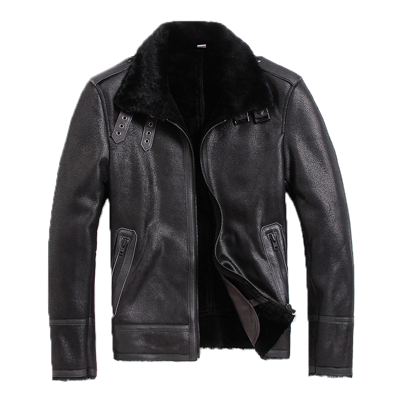 Free shipping Motor casual fur coat thick wool 100 Shearling man s warm leather jacket men