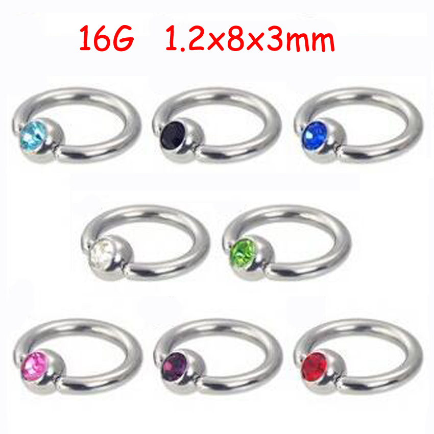 2Piece Stainless Steel Captive Hoop Rings CBR Eyebrow Tragus Earrings BCR Nose Closure Crystal Body Piercings Jewelry Helix