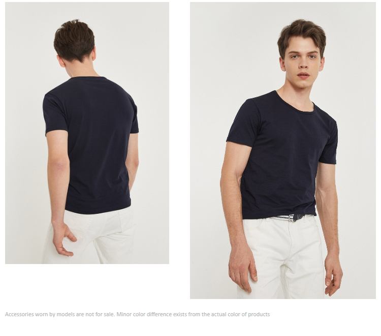 Men's Cotton T-shirt Solid Color Men's Top Fashion t shirt Brand New Menswear 26