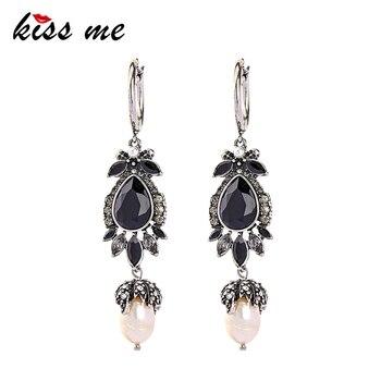 2f4081c81610 Dame un beso de las mujeres perlas cultivadas pendientes de aleación de  Zinc de geométrico moda Vintage pendientes de joyería India