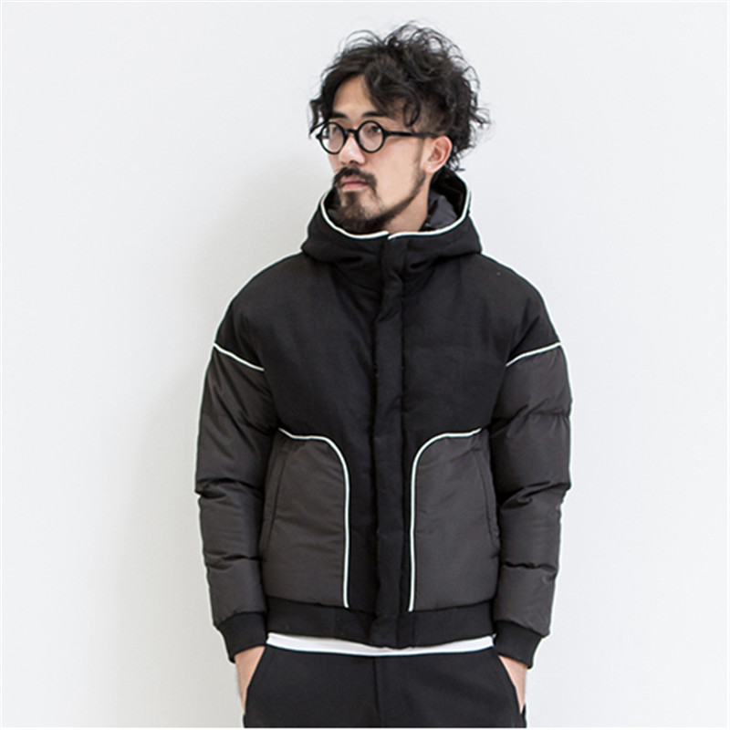 ФОТО Hot Autumn And Winter 2015 Men's Personality Hit Color Stitching Thick Hooded Fashion Black Stitching Cotton Jacket The Influx