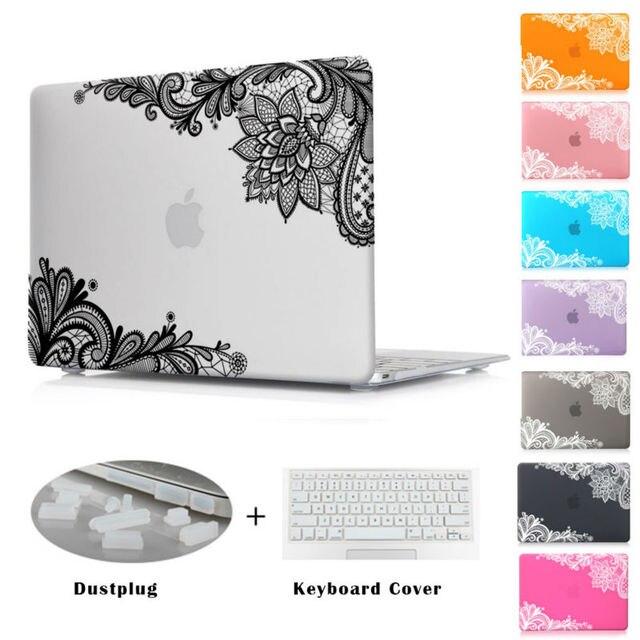 Мода Кружева Матовая Крышка Чехол для Apple MacBook Pro 13 15 Retina 12 Новый Mac book Air 13 11 дюймов Рождественский подарок