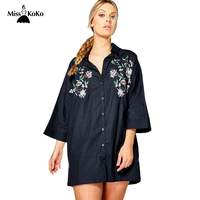 MissKoKo 2017 New Fashion Plus Size Women Shirt Solid Vintage Flower Embroidery Blouse Front Opening Single