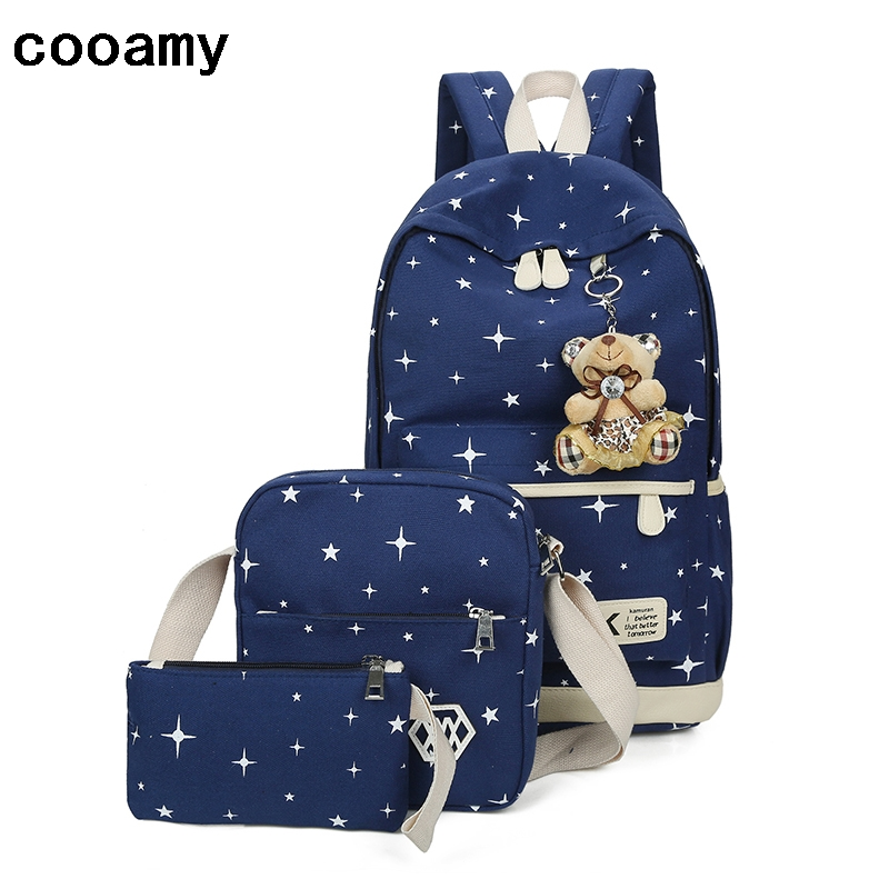 Canvas Printing Backpack Women Cute Lightweight Bookbags Shoulder Middle High School Bags for Teenage Girls pair of faux turquoise arrow earrings