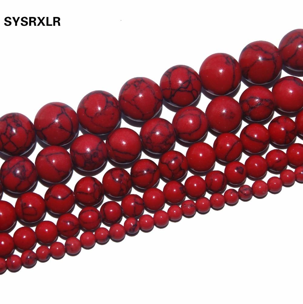 नि: शुल्क वितरण प्राकृतिक लाल पाइन दौर प्राकृतिक पत्थर मोती 4/6/8/10/12 एमएम आकार का चयन DIY कंगन बनाना आभूषण