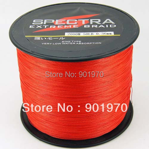 ФОТО Super fishing 4 strands braided line 2000m 50lb red  free shipping 1PCS