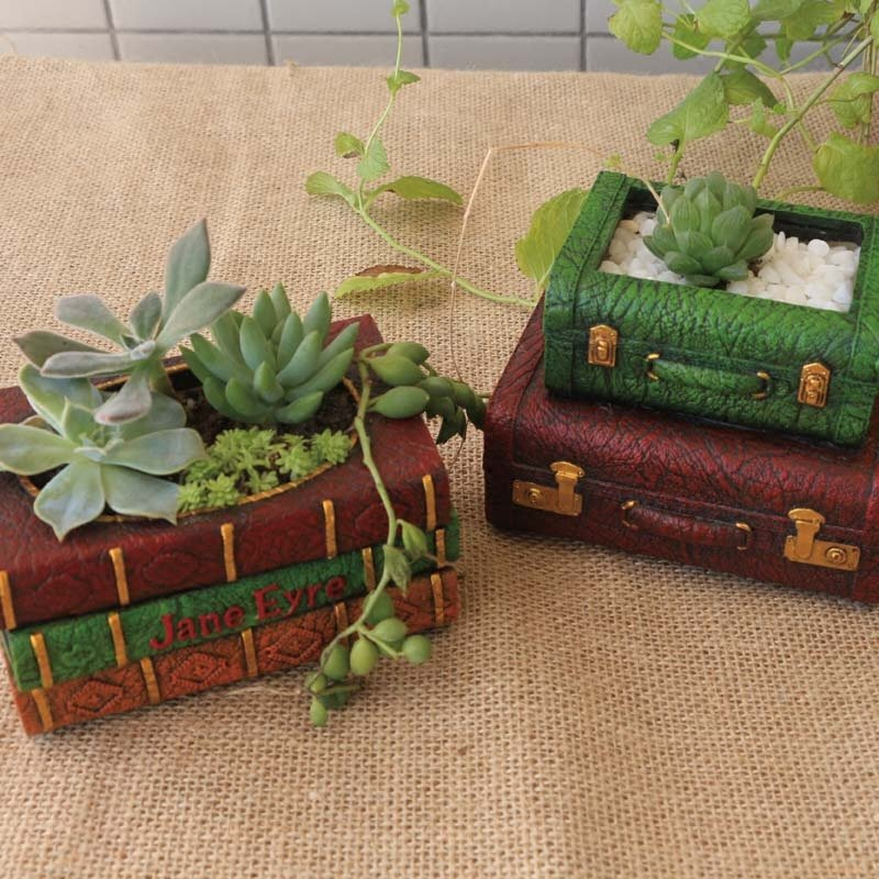 1/2Pcs Resin Flowerpot Book Succulent Plant Pot Suitcase Flower Pot Home Office Garden Decoration Christmas New Year Gift|Flower Pots & Planters| |  - title=