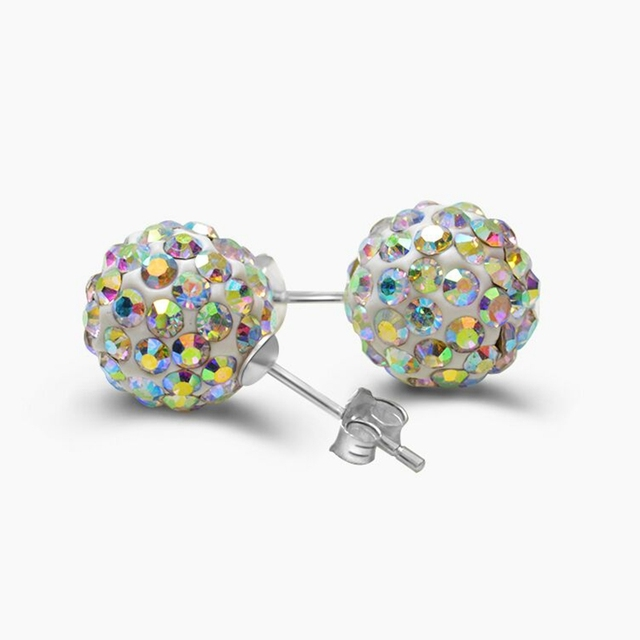 Ann & Snow 925 Sterling Silver Stud Earrings Crystals Ball Beads Fine Jewelry For Women Cute Style AAA CZ Stone 2018 New Design