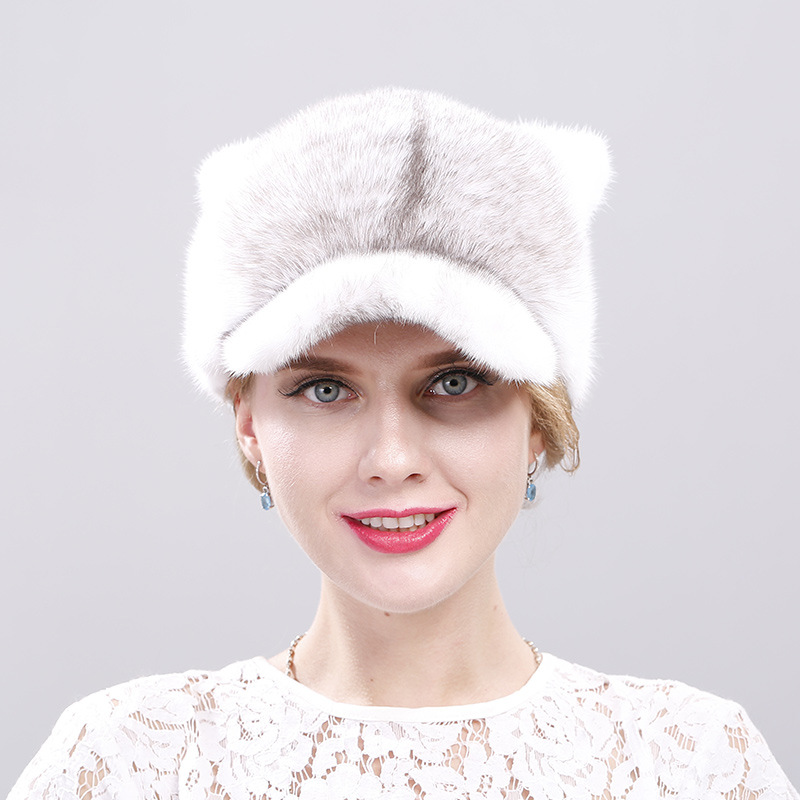 2018 mink hat ladies mink fur grass cap warm ears cat ears fashion baseball cap in autumn and winter hot winter beanie knit crochet ski hat plicate baggy oversized slouch unisex cap