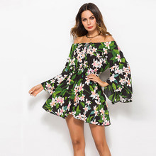 Female Chic Bohemian Summer Women's Short Dress Trumpet Flare Full Sleeves Off Shoulder Floral Green Dresses Robe Femme W1023(China)