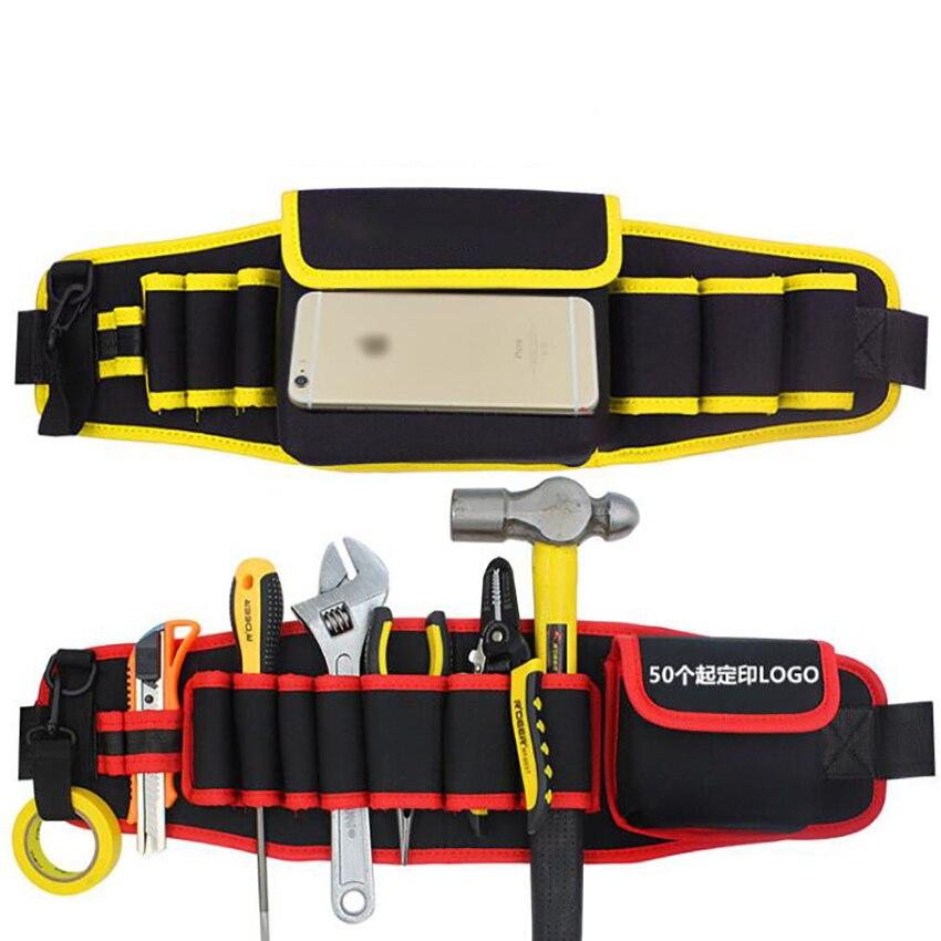 600D Waterproof Oxford Cloth Waist Tool Organizer Multi-Pockets Tool Bag Waist  Electrician Tool Bag Oganizer Adjustable Buckle