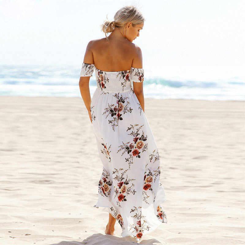 Boho style longue robe femmes épaule dénudée plage d'été robes imprimé Floral Vintage en mousseline de soie blanc maxi robe vestidos de festa