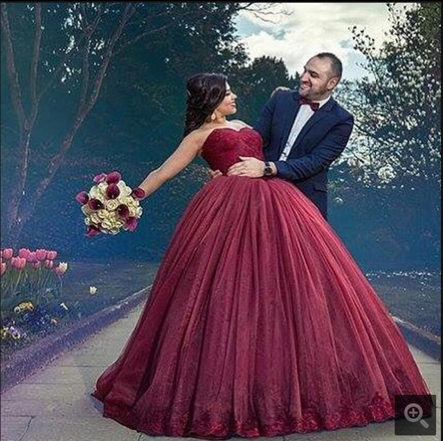 3c3ce1377d98 Custom made 2017 new ball gown burgundy princess puffy prom dress strapless  sweetheart sweet 16 girls prom gowns on sale