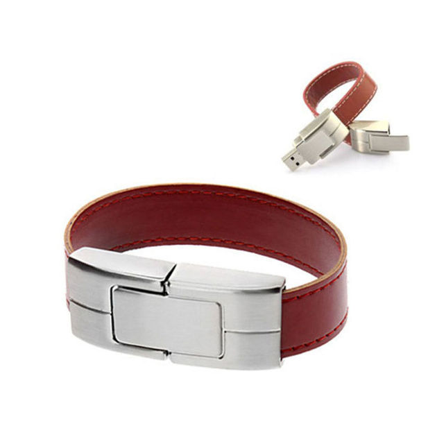 O envio gratuito de pulseira de couro pulseira de status usb tipo de interface usb 16 gb de metal usb 2.0