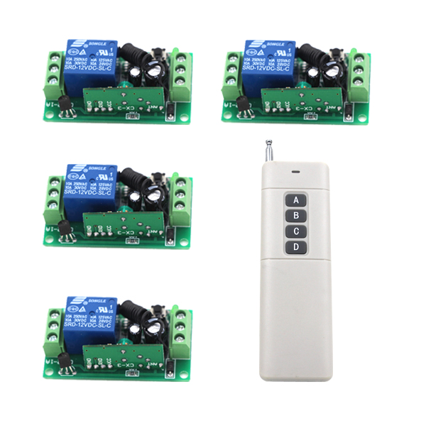 New 1Transmitter &4Receiver Module Wireless Remote Control Encoding Module System Momentery/Latched  RF Remote Control Switches cxd3846 4 new tab cof ic module