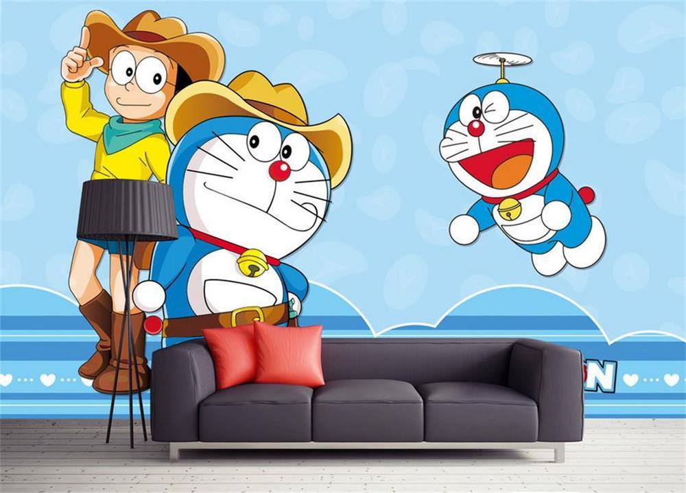 3d room wallpaper custom photo non-woven murals Kids Room Doraemon A TV background sofa children Bedroom wallpaper for walls 3d