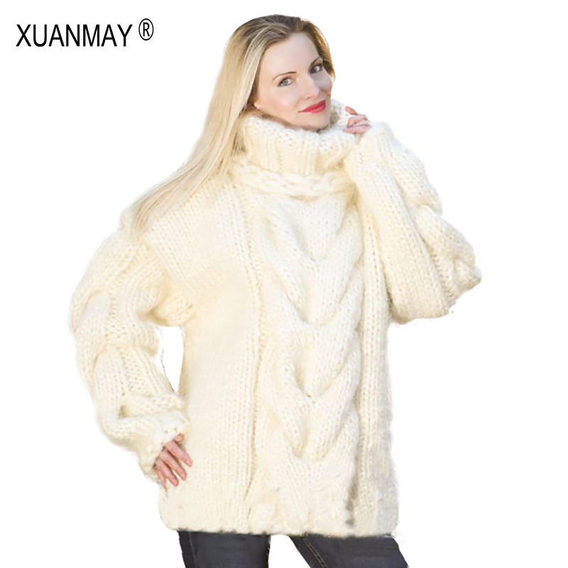 2017 Winter fashion Pure Hand-made Thick Sweater coat Women winter Thick coarse linesThick Warm High-necked Black Sweater