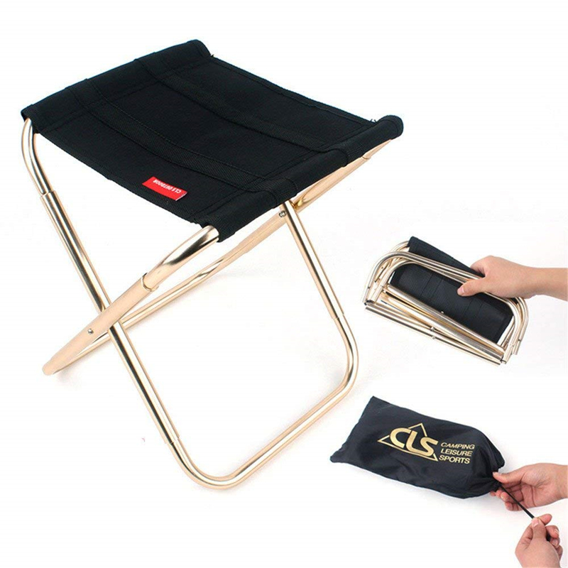 Folding Chair Portable Alloy Stool Fishing Camping Picnic Seat Travel Side Table