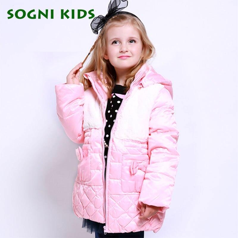SOGNI KIDS 90 White Duck Down Jacket For Girls Long Thicken Hooded Girls Winter Parka Brand