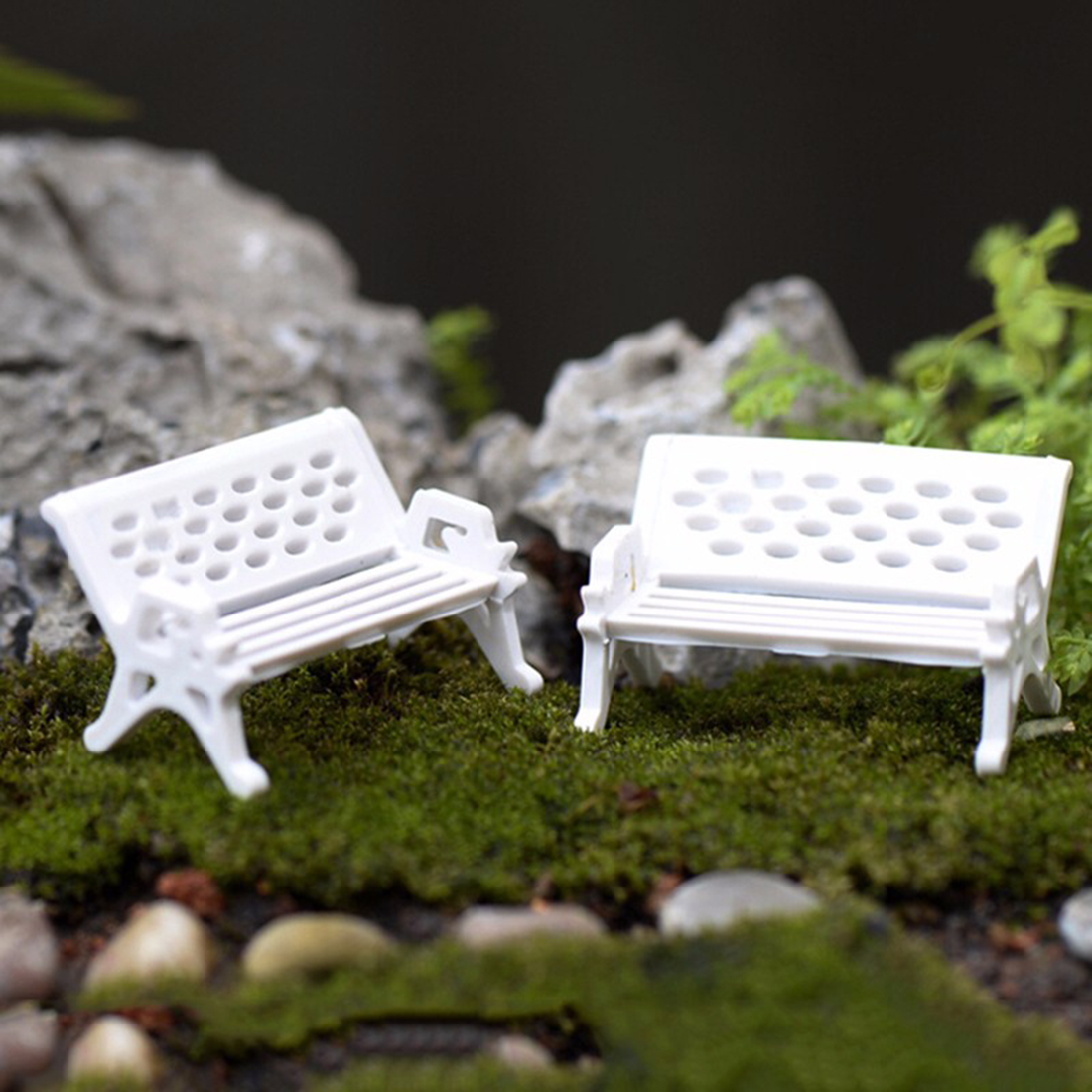 New 1Pcs Miniature White Chair Christmas Diy Plastics Fairy Garden Craft Decoration