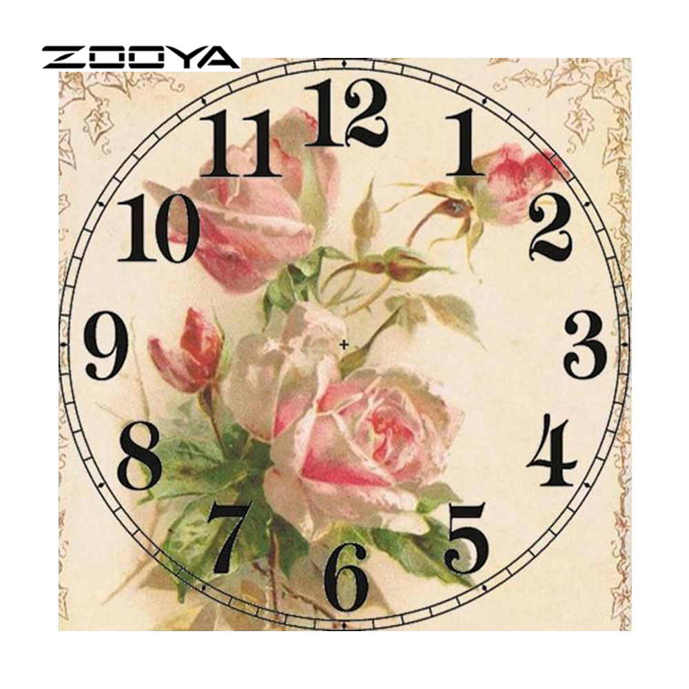 ZOOYA Diamond Painting Rhinestones Clock Rose Diamond Mosaic Full Diamond ասեղնագործ ասեղնագործություն DIY Mosaic Kit Home Decor RF1475