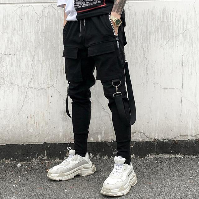 Homens personalidade do punk hiphop harem pants traje do estágio cantora de boate calças dos homens hip hop streetwear fitas corredores de carga