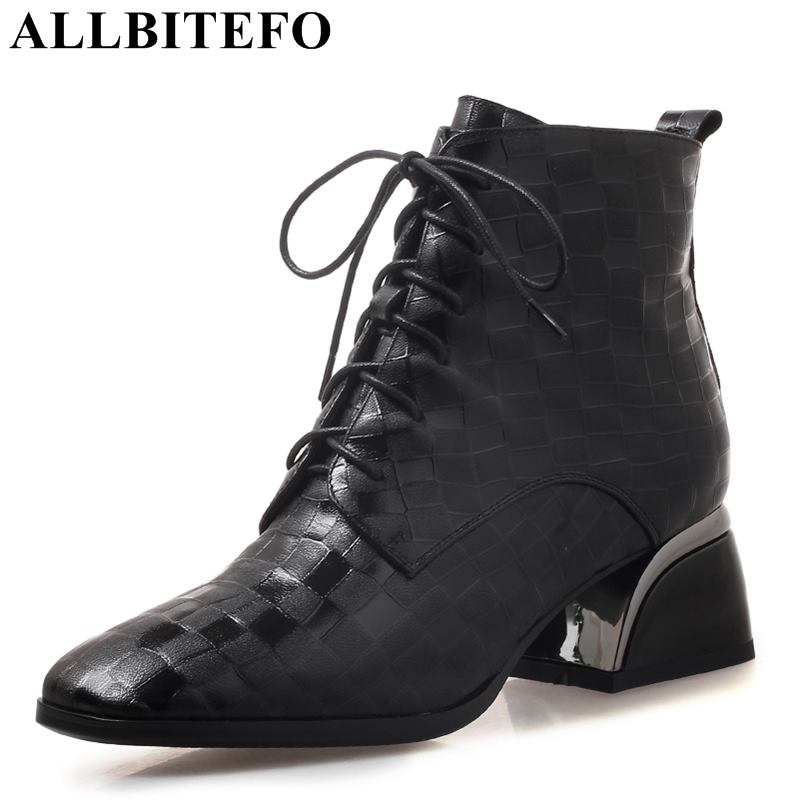 ALLBITEFO hot sale genuine leather thick heel women boots fashion brand high heels ankle boots women winter snow martin boots 2016 hot sale women australia snow boots fashion ankle boots 100
