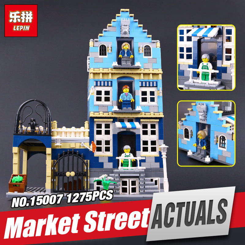 Lepin 15007 15008 Genuine Factory City Street European Market Model Educational Building Blocks Compatible Legoing toys 10190