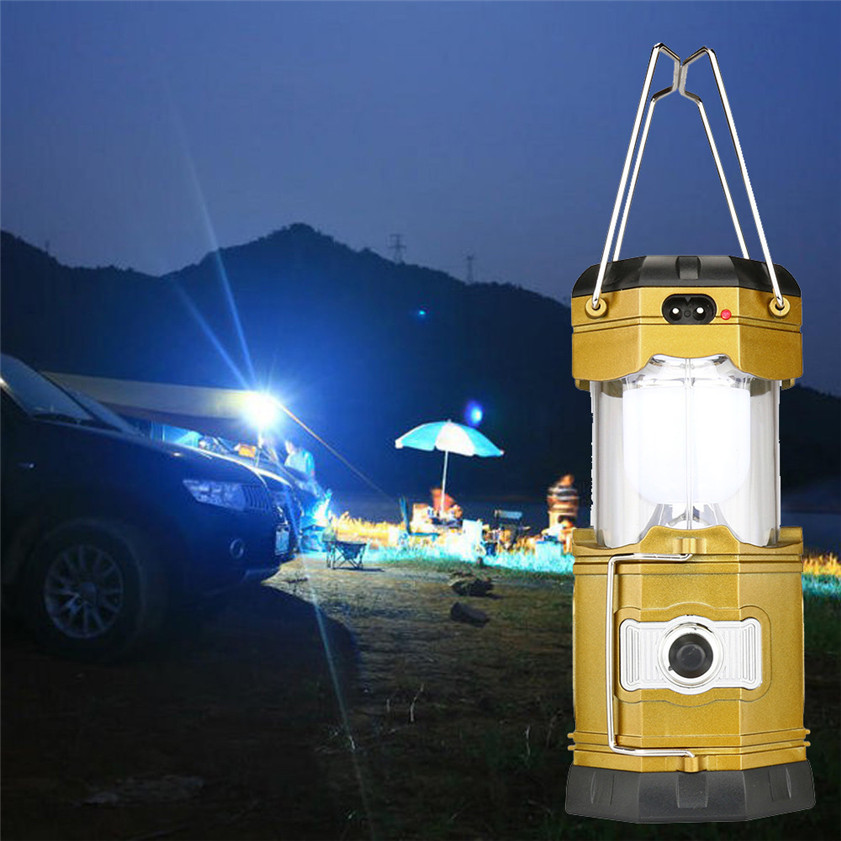 High Quality 2 In 1 Camping <font><b>Ceiling</b></font> Fan Light Hanging Tent Lamp Lantern Outdoor 6 LED Lamp