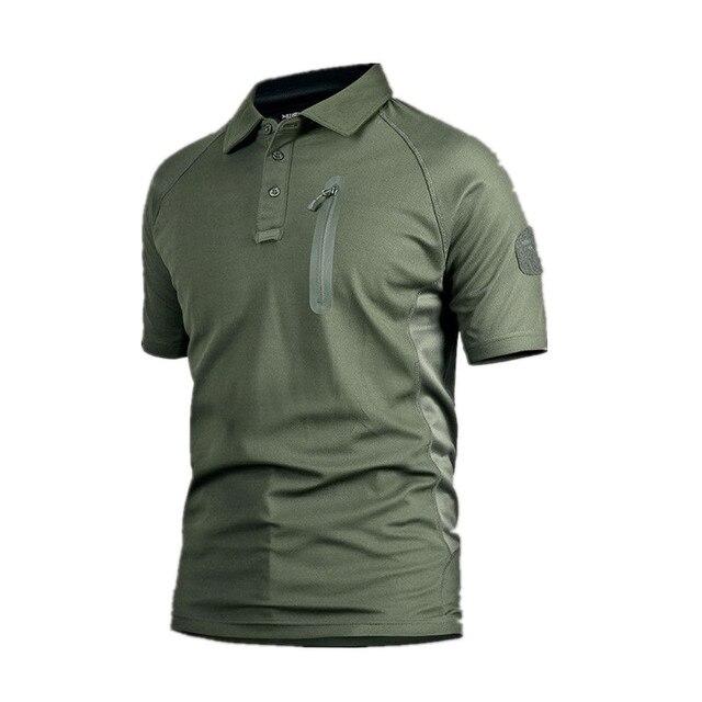 c7feed3832 Verão Tecido Respirável Camisa Polo Para Os Homens Marca Exército Tático  Secagem rápida dos homens Camisas