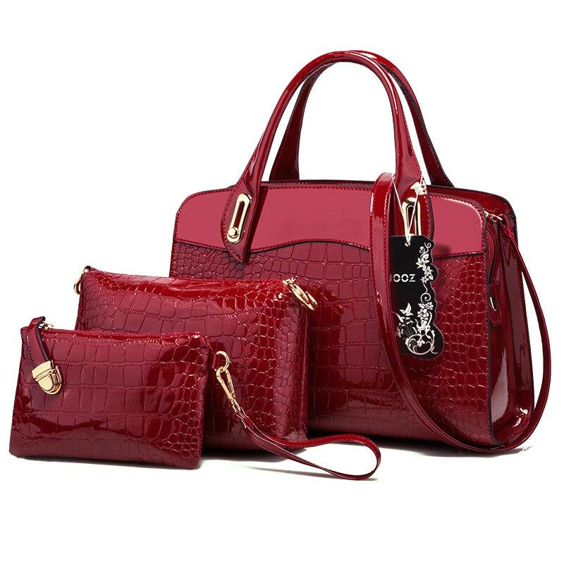 New Patent Leather Crocodile Grain Lady Handbag 3 Pcs Composite Bags Set Women Crossbody Shoulder Bag Wallet Clutch PurseNew Patent Leather Crocodile Grain Lady Handbag 3 Pcs Composite Bags Set Women Crossbody Shoulder Bag Wallet Clutch Purse