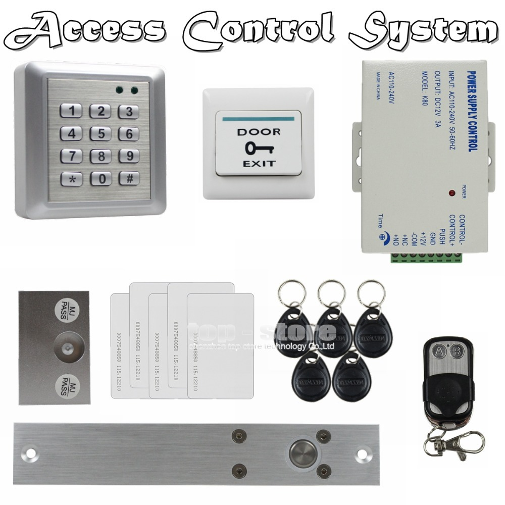 DIY Electric Bolt Lock Waterproof 125KHz RFID Reader Password Keypad Door Access Control Security System Remote Control Kit W4 raykube glass door access control kit electric bolt lock touch metal rfid reader access control keypad frameless glass door