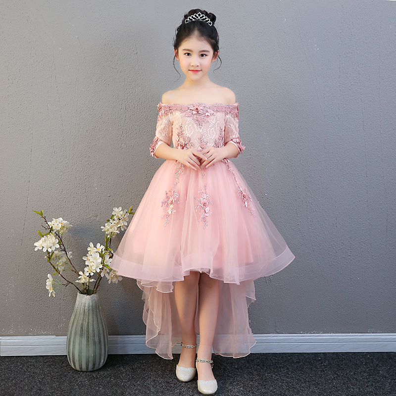 Girl Shoulderless Wedding Dress Appliques Tulle Princess Birthday Party Trailing Dress Kids First Communion Gown Custom Made E63 цена 2017