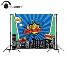 """Allenjoy"" fonas fotografijos studijoje Superhero City tema ""Blue Stripes Happy Birthday"" fone originalus dizainas fotokvalis"
