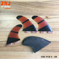 CNC shaped transparent surfboard FCS II G5 fins fcs2 M thruster cnc from fiberglass panel