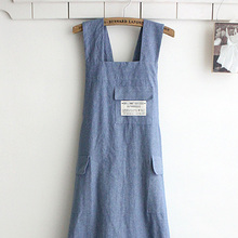 Chef Apron Gift Japanese style X Shape denim smock Natural Cotton APRON Halter Cross Bandage Bib Kitchen Garden Wear-blue Color