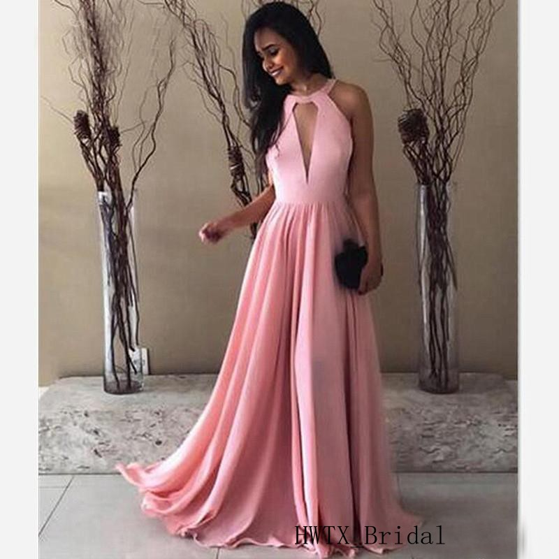 Cheap Pink Chiffon Prom Dresses Elegant A Line Sleeveless Keyhole Neck Sexy Backless Long Evening Dress Formal Party Gowns 2019