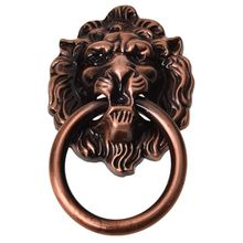 Antique Style Copper Tone Metal Lion Head Shaped Drawer Pull Handle 2.5 chinese antique copper small beast head knocker handle lion head handle door handle classical shop first