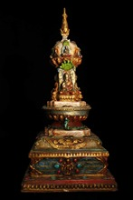 Traditional Old tibet handwork carving Copper Painted buddha Inlaid semi-precious stones tower/Buddhist temple decoration tower