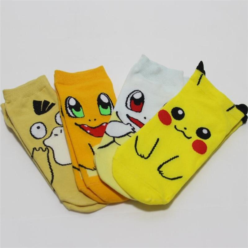 hot-sell-women-cartoon-socks-4pairs-lot-spring-summer-and-autumn-women's-animal-short-socks-lady-and-women-cute-font-b-pokemon-b-font-socks
