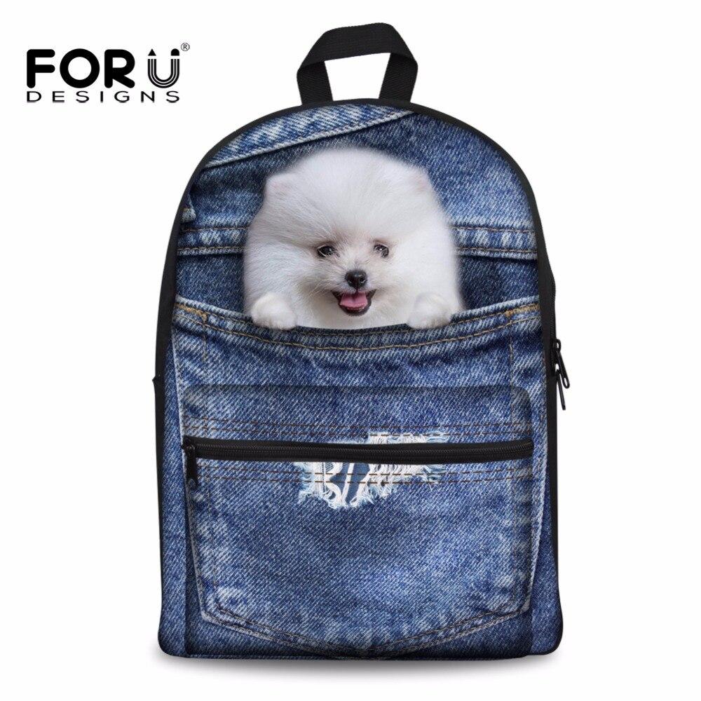 FORUDESIGNS Cute 3D Pomeranian Dog Prints School Bags Denim Shoulder Canvas Schoolbag For Girls Boys Backpack Mochila Infantil