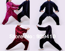 unisex men&women 4colors South Korea gold velvet martial arts kung fu tai chi suits uniformscloting sets Jacket+pants(China)