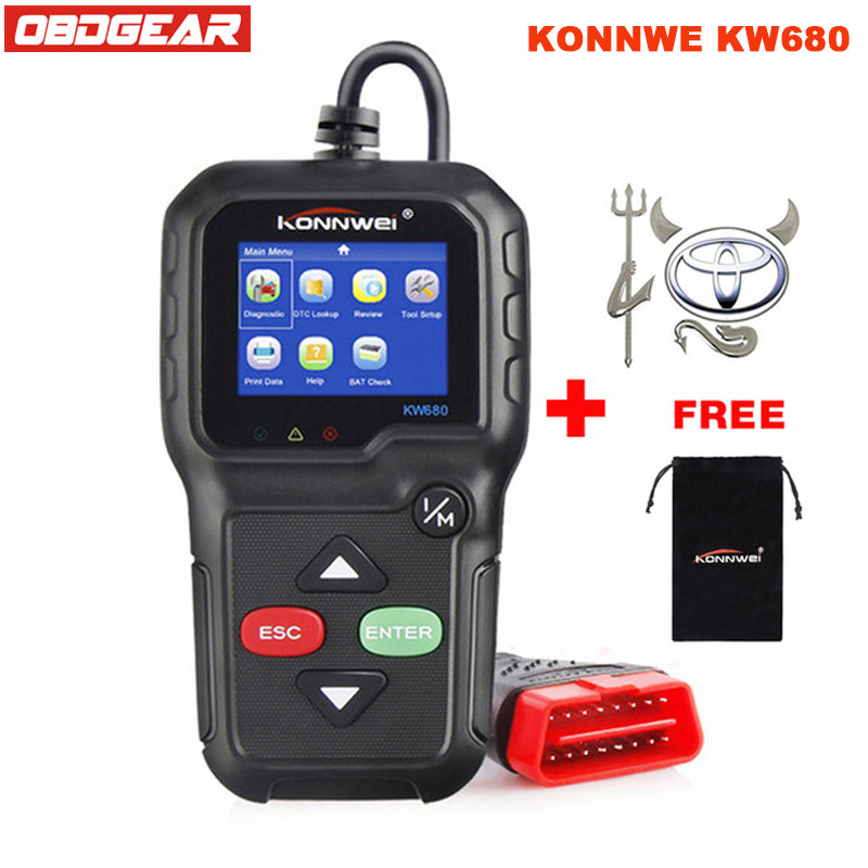 Best KONNWEI KW680 OBD2 Diagnostic-Tool Multi-language OBD 2 Autoscanner Full ODB 2 Function Auto Diagnostic Scanner In Russian hot new xtuner e3 easydiag wireless obdii full diagnostic tool with special function pefect replacement for vpecker easydiag
