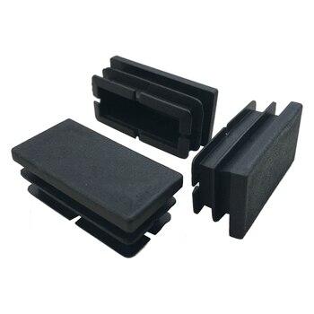 цена на Hot Sale 8 Pcs Black Plastic Rectangular Blanking End Caps Inserts 20mm x 40mm