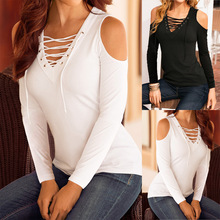 New Arrivals Autumn 2019 Casual Women T-Shirt Long Sleeve V-Neck Bandage Off Shoulder Shirt Slim Solid Color Women Clothing Tops