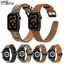 Laforuta for Apple Watch Band Strap 44mm 40mm iWatch 4 42mm 38mm Women Men Quality Leather Wristband Replacement Belt Loop