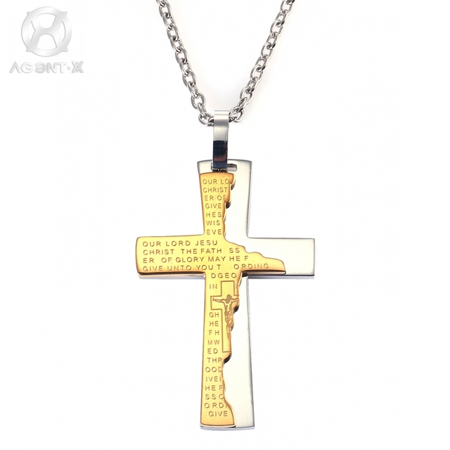 AgentX Punk Mens Male Jesus Golden Cross Bible 3D Christian Jewelry Stainless Steel Pendant Necklace Long Chain +Gift Bag/AAP096