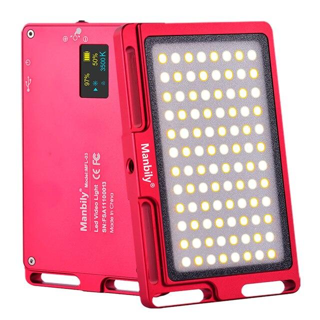 Manbily MFL-03 3500-5700 K Mini LED caméra vidéo lumière Dimmable 96 LED lampe d'éclairage photographique pour reflex numérique Canon Nikon Pentax
